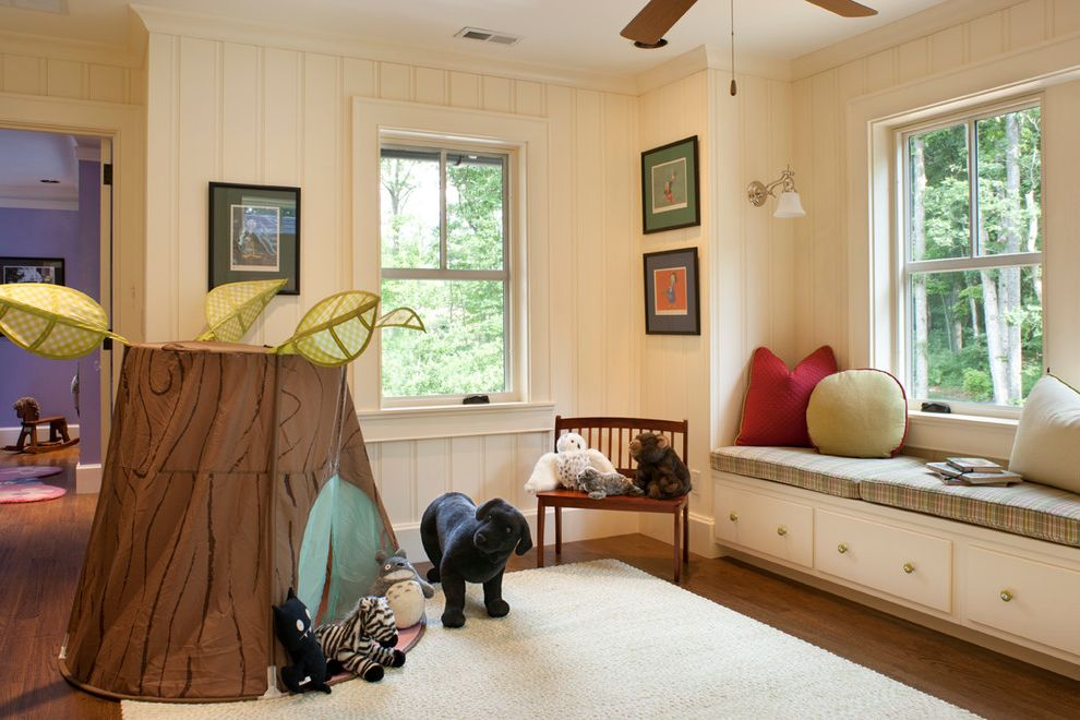 Daltile San Diego   Traditional Kids  and Area Rug Bench Seat Built in Bench Seat Ceiling Fan Double Hung Windows Green Light Sconce Pillows Plaid Play Tent Plush Toys Red Tongue and Groove Paneling Tree Trunk White Window Seat Wood Floor