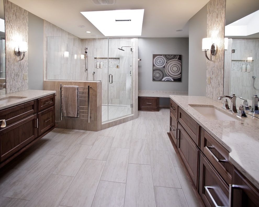 Daltile San Diego with Contemporary Bathroom Also Bathroom Lighting Drawer Pulls Glass Shower Door Painted Walls Sconce Shower Niche Skylight Tile Floors Tile Walls Vanity Wall Art