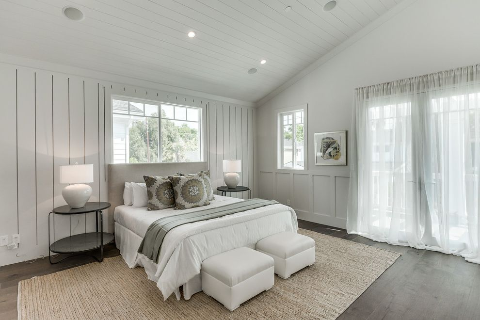 Daltile Van Nuys with Transitional Bedroom  and Beige Bed Black Side Table Shiplap Sisel Floor Vaulted Ceiling White Bedding White Ottoman