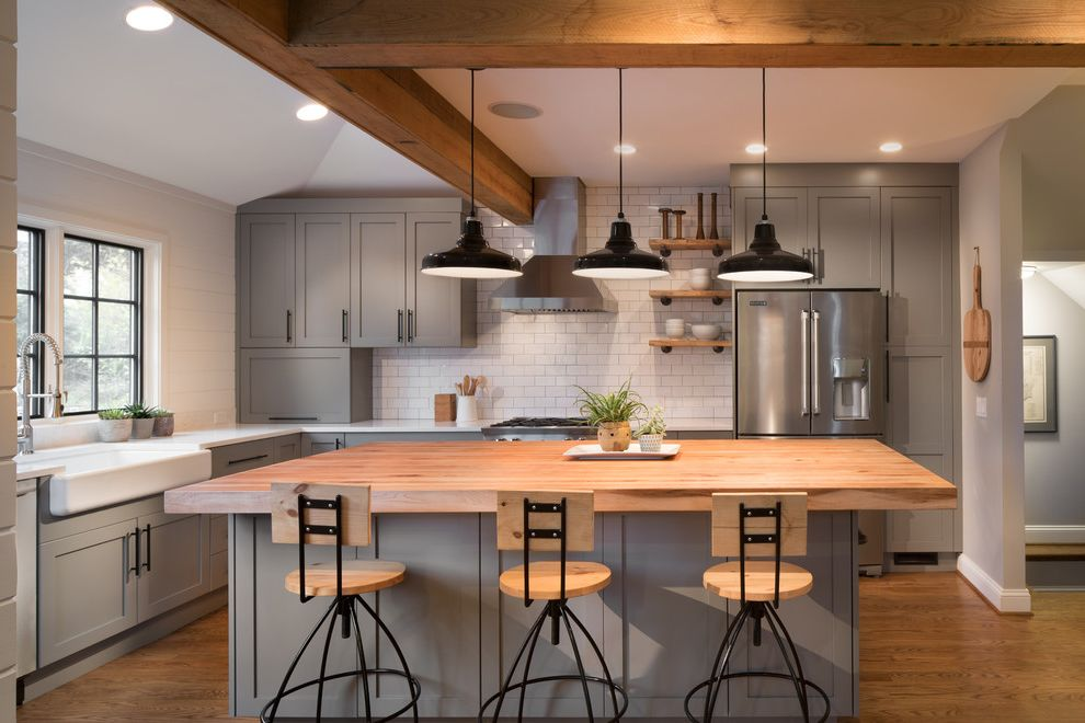 Daltile Van Nuys with Transitional Kitchen Also Beams Counter Stools Full Wall Backsplash Gray Grey Open Shelves Pendant Lights Windows Over Sink