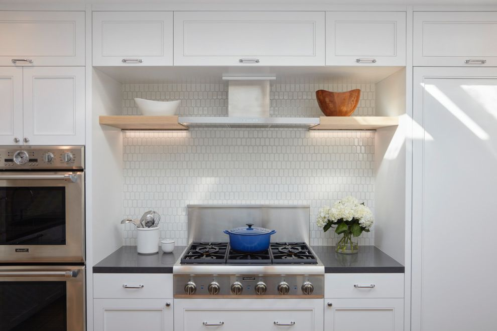 Danish Inspirations   Contemporary Kitchen  and Coffee Station Danish Floating Shelves Heath Hygge Kitchen Island Modern Kitchen Open Shelves Poulsen Pullout Pantry Skylight Sliding Skylight Tile Backsplash White Cabinets White Counters Wood Beams