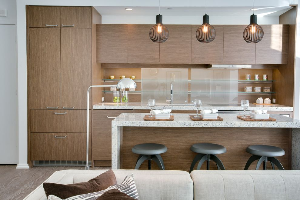Danish Inspirations with Contemporary Kitchen Also Barstools Clean Lines Condo Kitchen Integrated Fridge Island Pendants Open Shelves Toronto Condo Waterfall Countertop