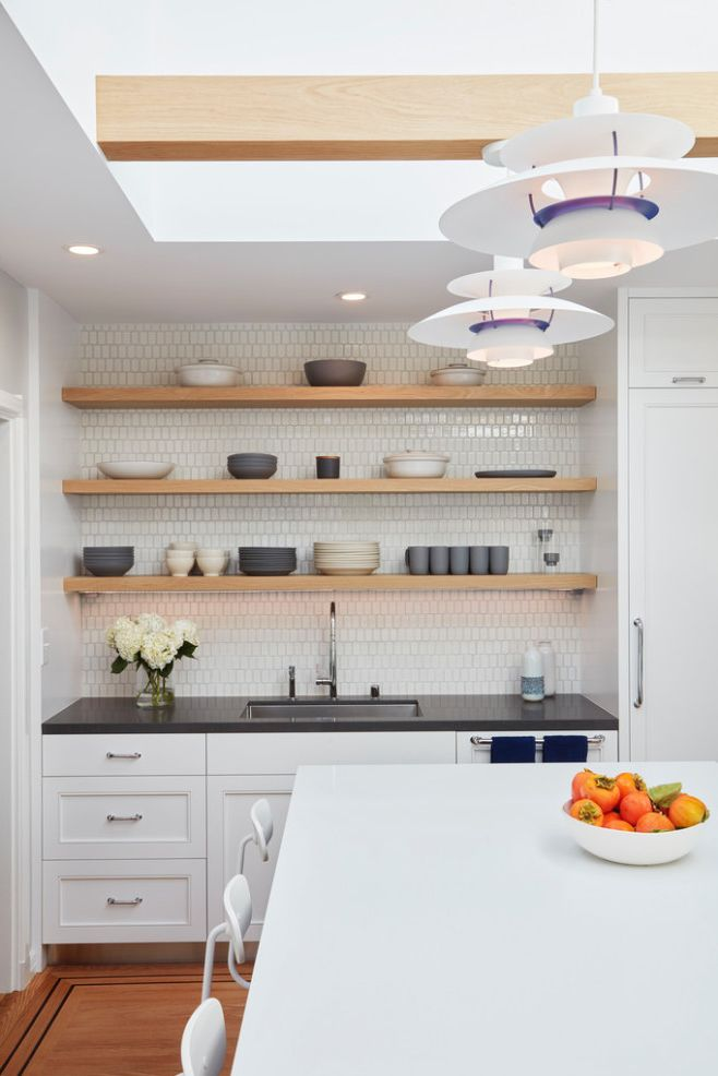 Danish Inspirations with Contemporary Kitchen Also Coffee Station Danish Floating Shelves Heath Hygge Kitchen Island Modern Kitchen Open Shelves Poulsen Pullout Pantry Skylight Sliding Skylight Tile Backsplash White Cabinets White Counters Wood Beams