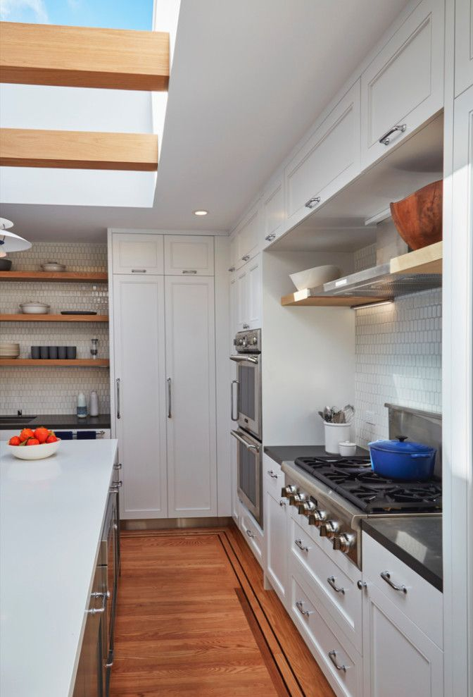 Danish Inspirations with Contemporary Kitchen  and Coffee Station Danish Floating Shelves Heath Hygge Kitchen Island Modern Kitchen Open Shelves Poulsen Pullout Pantry Skylight Sliding Skylight Tile Backsplash White Cabinets White Counters Wood Beams