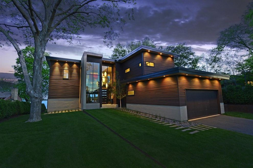 Dark Brown Vinyl Siding   Contemporary Exterior Also Beige Exterior Beige Siding Dark Brown Exterior Dark Brown Garage Door Dark Brown Siding Lawn Outdoor Lighting Roof Lighting Stone Pathway Stone Pavers Stone Walkway Vertical Window Wall Window Wall