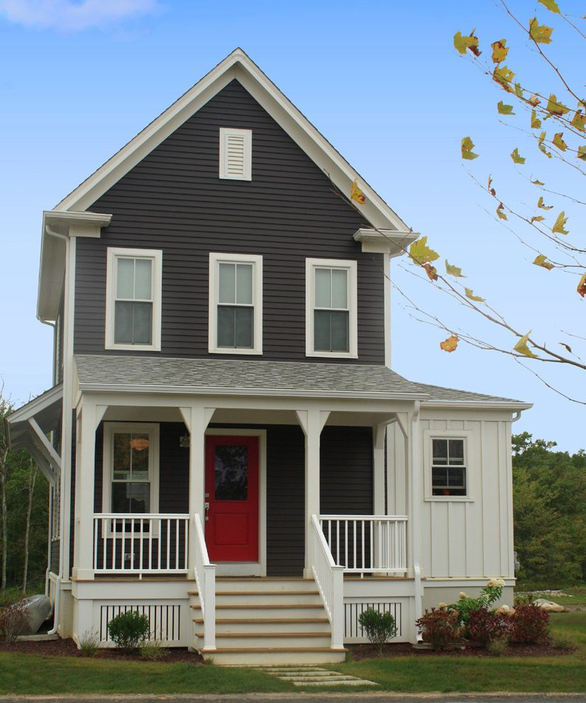 Dark Brown Vinyl Siding   Farmhouse Exterior Also Double Hung Windows Farmhouse Front Porch Grass Lawn Red Front Door Turf White Trim Wood Siding