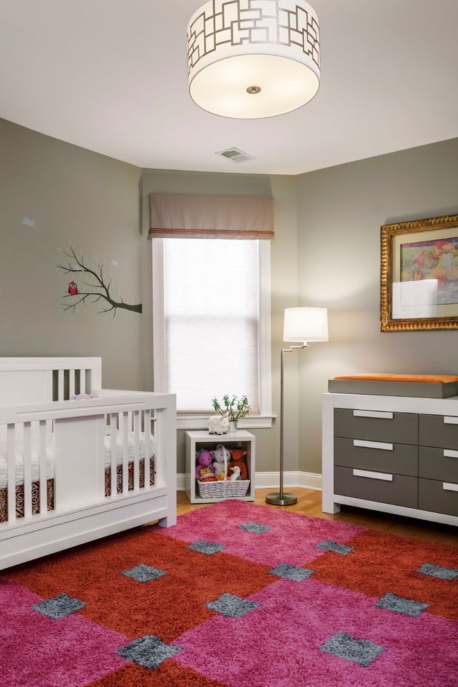 Davinci Highland Crib   Transitional Nursery Also Changing Table Corner Window Drum Pendant Light Gray Changing Table Pink and Red Nursery Wall Mural White Crib