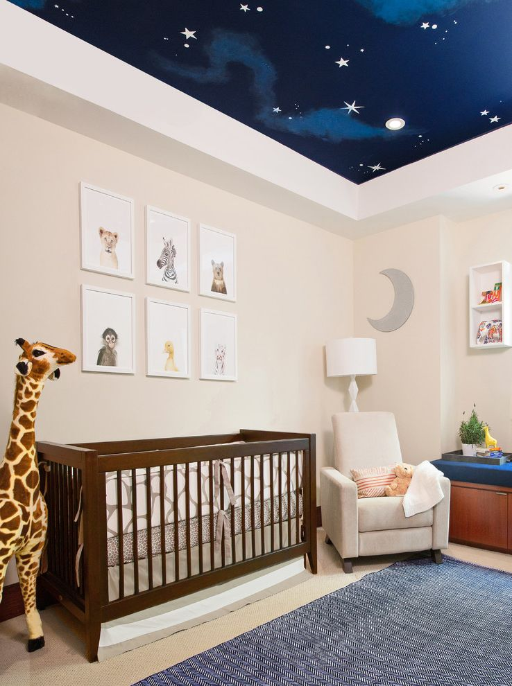Davinci Highland Crib   Transitional Nursery  and Area Rug Armchair Ceiling Mural Crib Giraffe Neutral Nursery Sky Mural Stars on Ceiling Wall Art