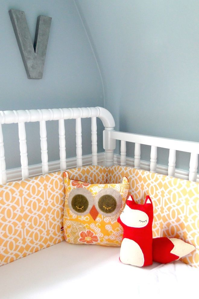 Davinci Highland Crib with Contemporary Kids  and Blue and Yellow Blue Walls Crib Bedding Crib Bumper Stuffed Animals Wall Letters White Crib