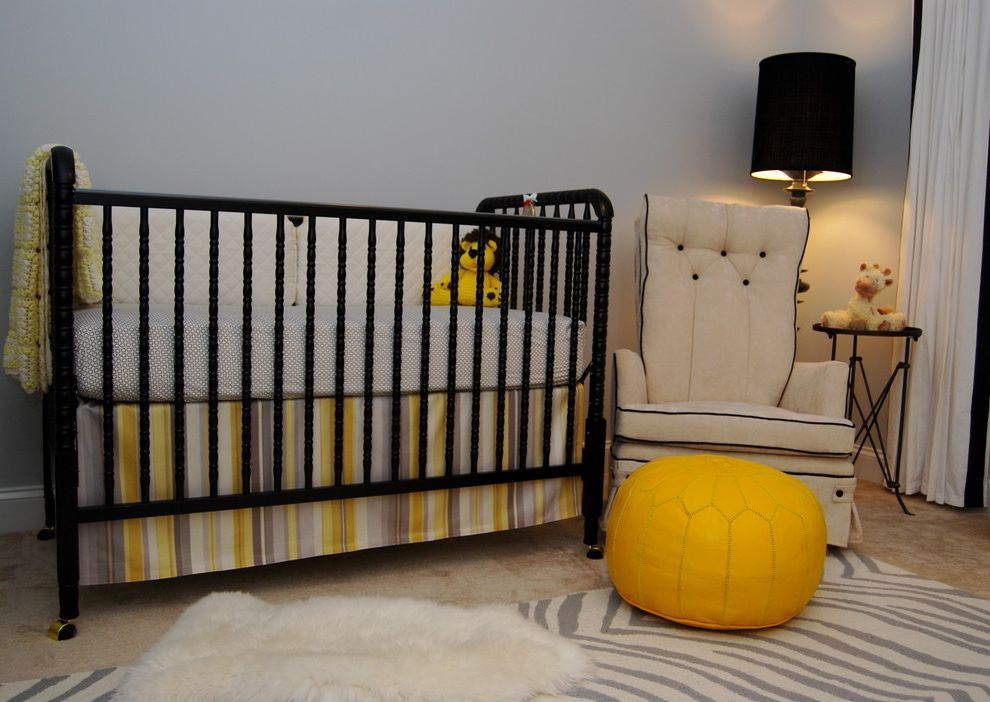 Davinci Highland Crib with Contemporary Nursery  and Area Rug Bedskirt Crib Bedding Drum Lampshade Dust Ruffle Floor Lamp Moroccan Pouf Nursery Rocking Chairs Sheepskin Rug Stripes Wooden Crib Zebra Print Rug