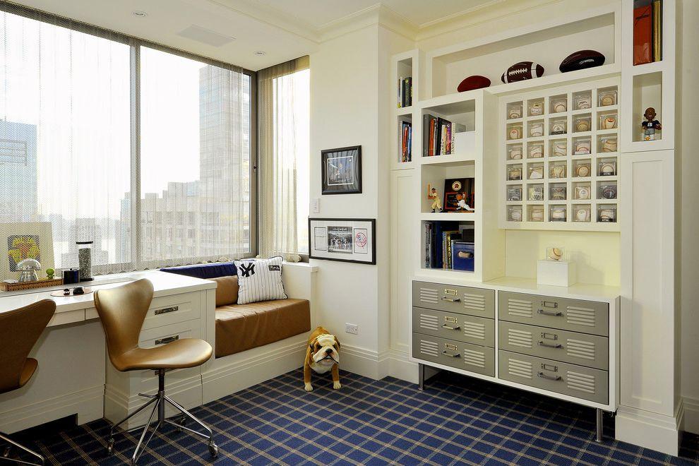 Deans Carpet with Contemporary Kids and Baseball Display Blue Carpet Built in Shelves Cascade Coil City Views Locker Cabinet Open Shelves