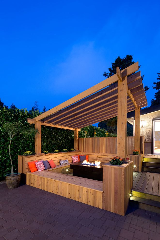 Deck Cost Estimator with Transitional Deck  and Accent Pillows Bench Seat Built in Wood Bench Cedar Deck Fire Pit Firepits Outdoor Entertaining Pergola Stair Lighting Tiered Deck Wood Bench Wood Column Wood Deck Wood Pergola Wood Posts Wood Wall
