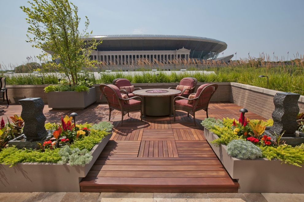 Deck Designs Lowes   Contemporary Deck  and Fountain Garden Grasses Outdoor Cushions Outdoor Lighting Patio Patio Furniture Planters Raised Beds Roof Deck Rooftop Urban View Water Feature Wicker Furniture