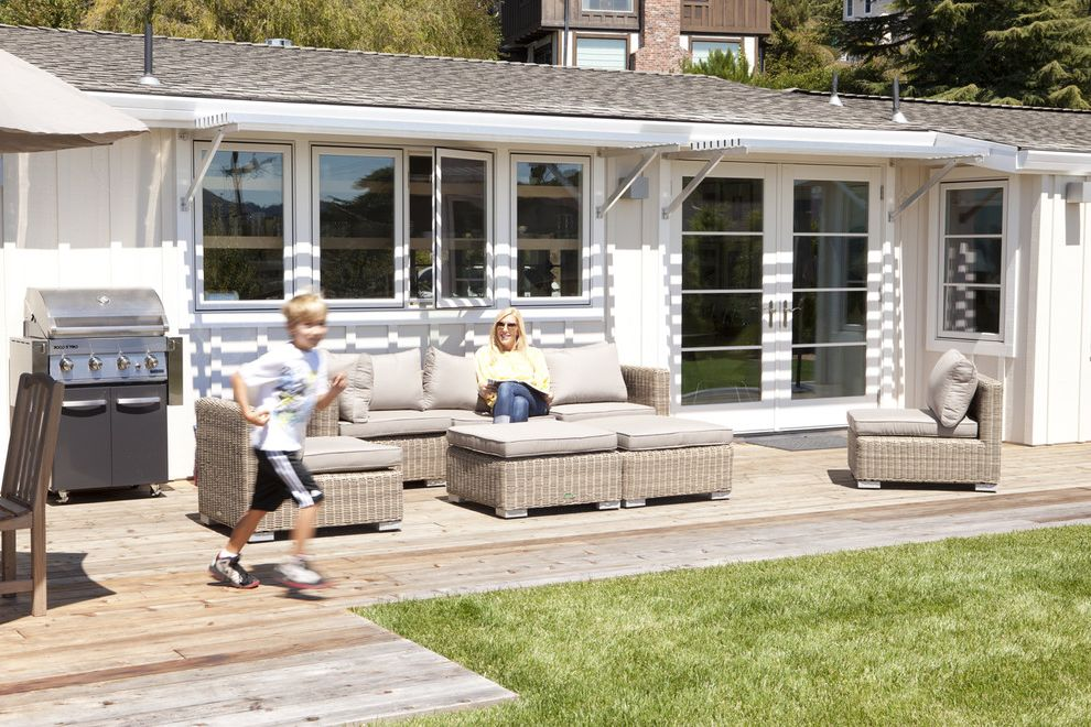 Deck Designs Lowes   Contemporary Patio  and Awning Board and Batten Siding French Doors Lawn Light Gray Outdoor Dining Outdoor Grill Outdoor Seating White Wood Deck