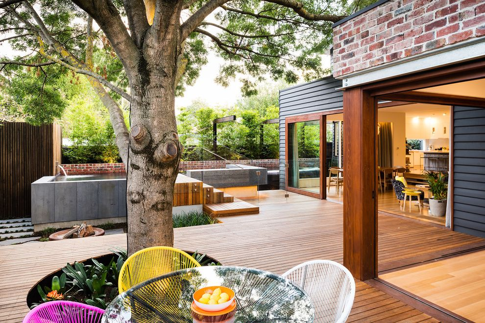 Deck Designs Lowes with Contemporary Deck  and Bamboo Bluestone Brick Retainer Wall Concrete Contemporary Design Deck Built Around Tree Modern Landscape Outdoor Dining Pool Spa Timber Features