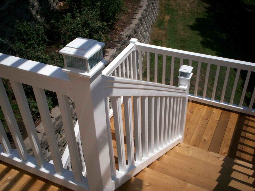 Deck Lighting Unlimited   Traditional Deck Also Cedar Deck Deck Lighting Lighting on Stairs Outdoor Lighting Wood Deck White Railing