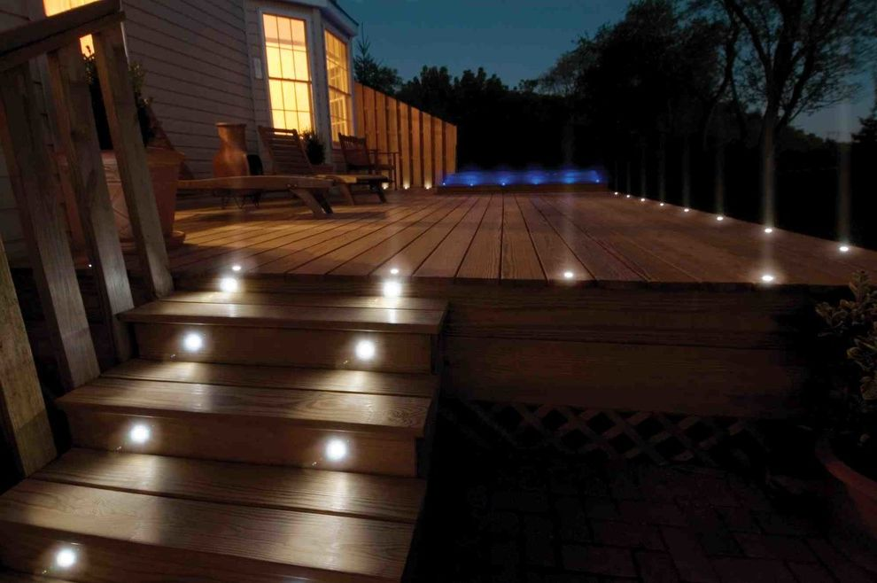 Deck Lighting Unlimited   Traditional Deck Also Cedar Deck Deck Lighting Lighting on Stairs Outdoor Lighting Wood Siding