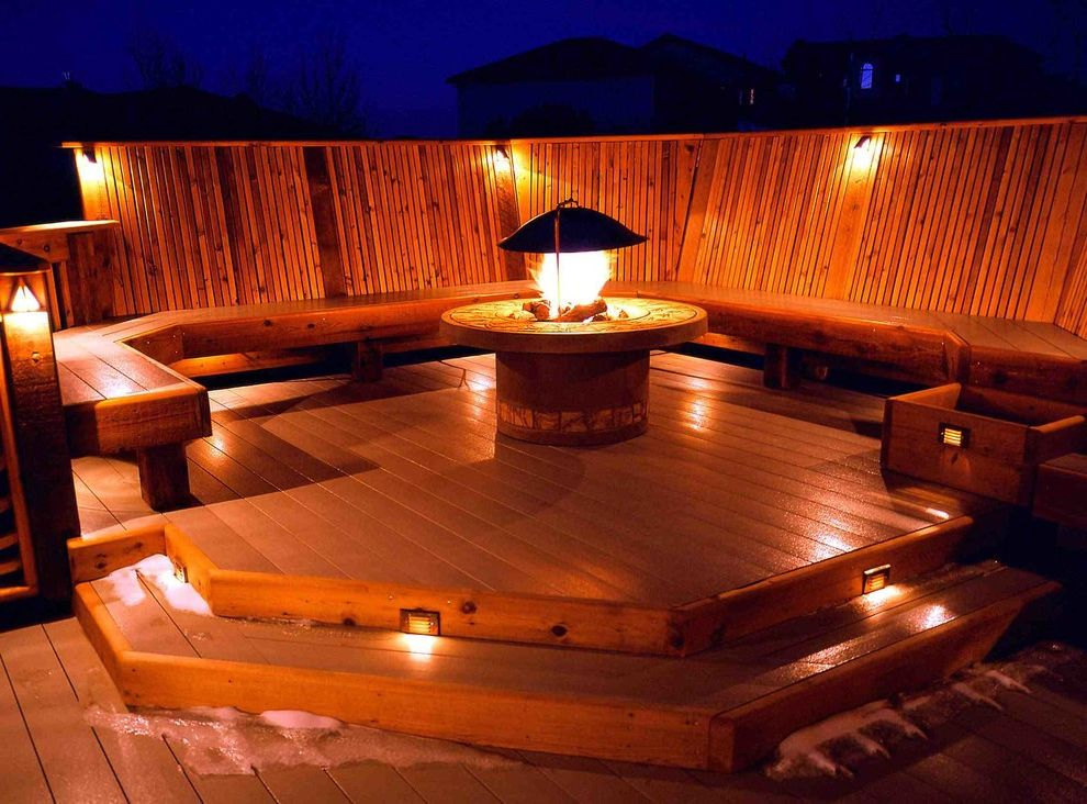 Deck Lighting Unlimited with Contemporary Deck  and Bench Seating Cedar Deck Deck Lighting Fire Pits Lighting on Stairs Outdoor Lighting