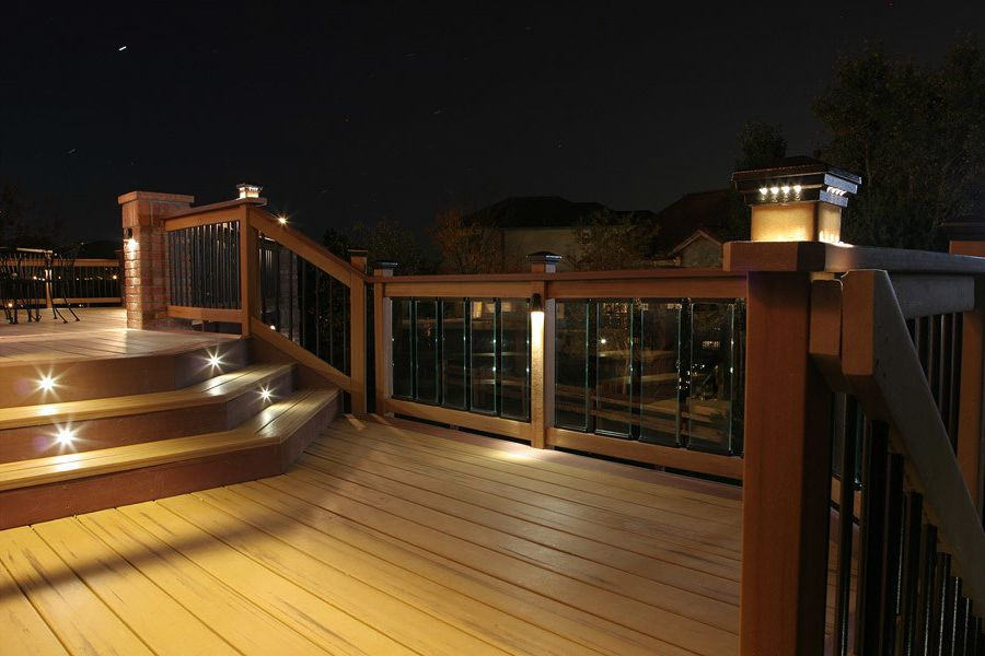 Deck Lighting Unlimited with Traditional Deck  and Cedar Deck Deck Lighting Lighting on Stairs Outdoor Lighting Red Brick Pillar
