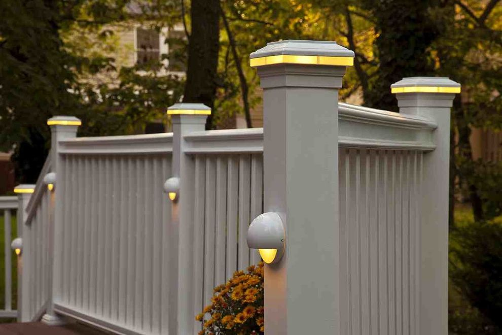 Deck Lighting Unlimited with Traditional Deck  and Cedar Deck Deck Lighting Lighting on Stairs Outdoor Lighting Wood Deck White Railing