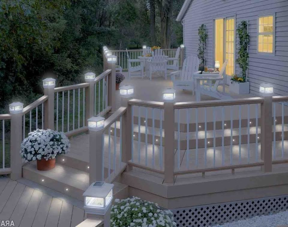Deck Lighting Unlimited with Traditional Spaces  and Adirondack Chairs Deck Lighting Lighting on Stairs Outdoor Lighting White Deck Railing