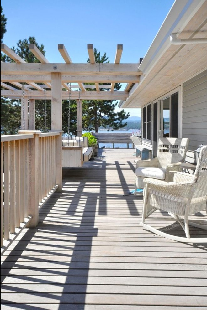Deck Swings with Canopy   Beach Style Deck  and Beach Cottage Coastal Cottage Contemporary Cottage Cottage Hanging Day Bed Hanging Porch Swing View Wicker Wicker Patio Furniture Wicker Rocking Chair Wood Beam Wood Deck Wood Pergola Wood Post Wood Railing