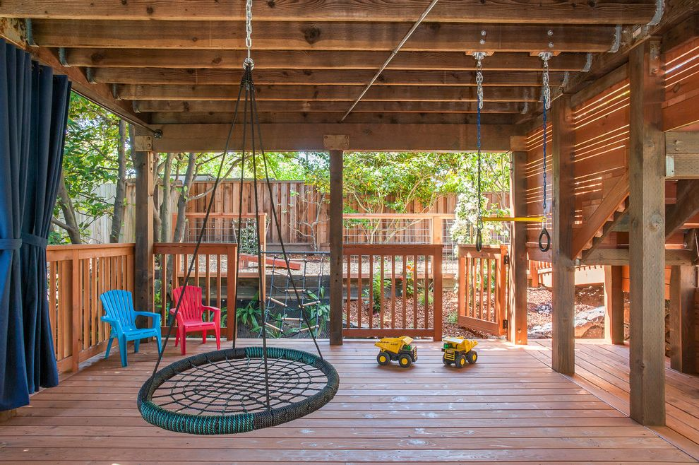 Deck Swings with Canopy with Traditional Deck  and Adirondack Chairs Child Friendly Deck Stairs Family Friendly Hammock Hanging Chair Kid Friendly Play Area Railing Under Deck Ideas