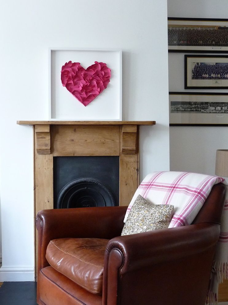 Decor Once More   Eclectic Living Room Also Diy Fireplace Mantel Fireplace Surround Heart Holiday Decorations Leather Armchair Valentines Day Decorations Wall Art Wall Decor