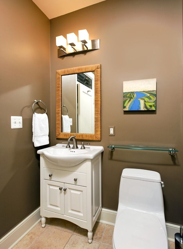 Decor Once More   Transitional Bathroom Also Baseboards Brown Wall Chocolate Wall Framed Mirror Glass Shelves Sconce Sink Cabinets Tile Flooring Towel Racks Wall Art Wall Decor Wall Lighting