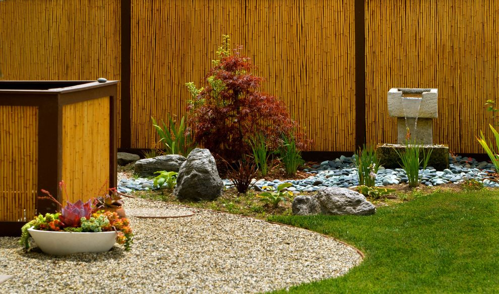 Decorative Chain Link Fence with Asian Landscape and Bamboo Fencing Boulders Dry River Fountain Garden Fencing Grass Gravel Hot Tub Jacuzzi Japanese Maple Lawn Rocks Spa Succulents Turf Water Feature