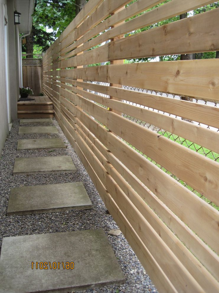 Decorative Chain Link Fence with Contemporary Landscape and Alley Concrete Step Path Horizontal Cedar Privacy Fence Landscape Outdoor Pea Gravel Toronto