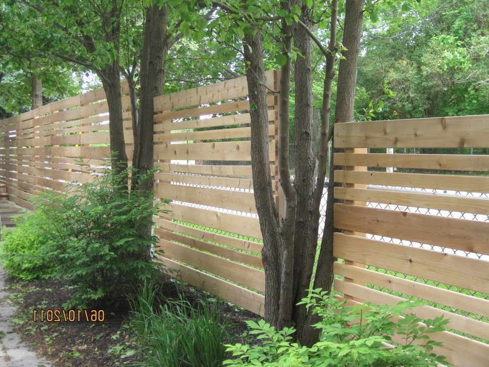 Decorative Chain Link Fence with Modern Landscape and Cedar Fence Horizontal Landscape Outdoor Privacy Privacy Screen Toronto