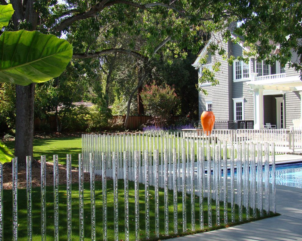 Decorative Chain Link Fence with Traditional Landscape and Acrylic Rods Glass Rods Lawn Orange Pot Pergola Pool Shingle White Painted Trim