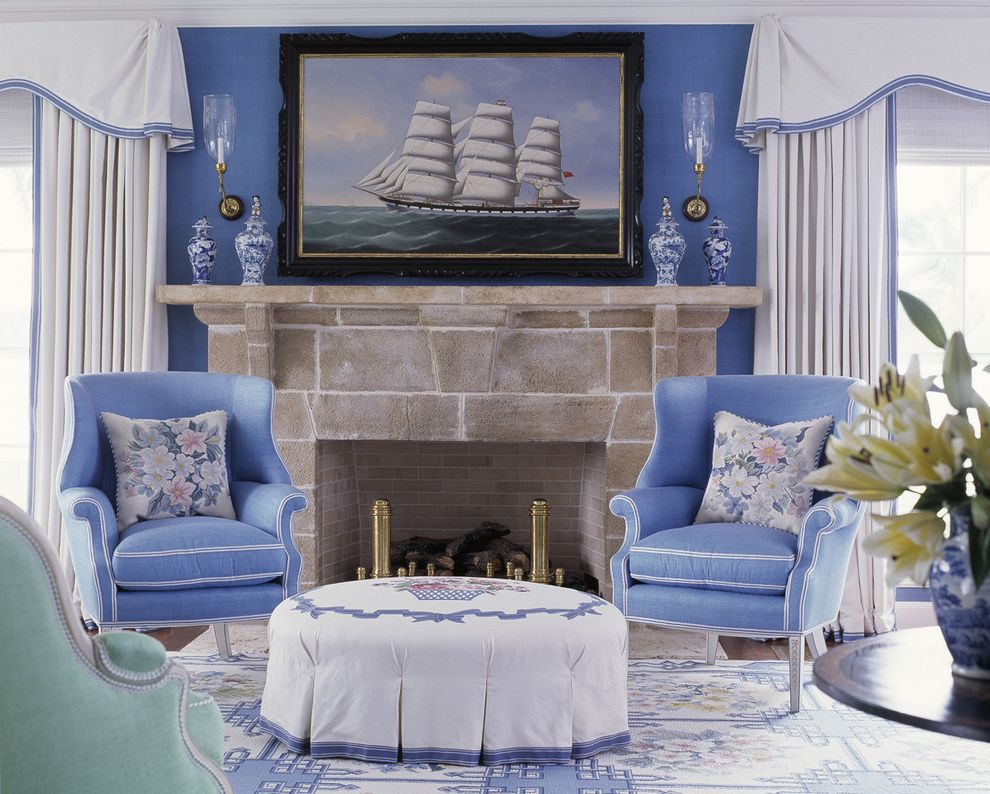 Decorative Fireplace Covers with Traditional Living Room  and Andirons Area Rug Artwork Blue Walls Curtains Drapes Fireplace Mantel Fireplace Surround Nautical Painting Sconce Sky Blue Wall Art Wall Decor Wall Lighting Window Treatments Wingback Chair
