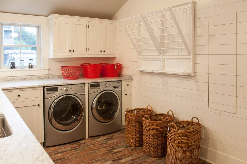 Decorative Garment Rack   Beach Style Laundry Room  and Barn Beams Drying Rack Farm Kitchen Open Traditional Wicker Baskets Wicker Laundry Hampers