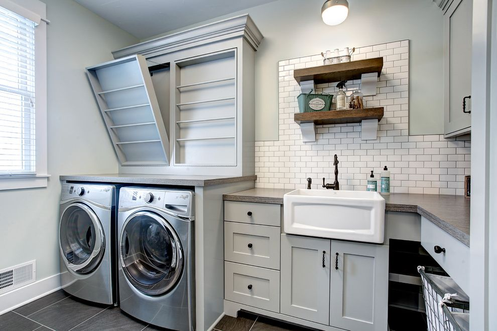 Decorative Garment Rack   Transitional Laundry Room Also Clothing Rack Corbels Crown Molding Custom Farmhouse Sink Gray Hamper Laminate Metal Mini Subway Tile Shelves