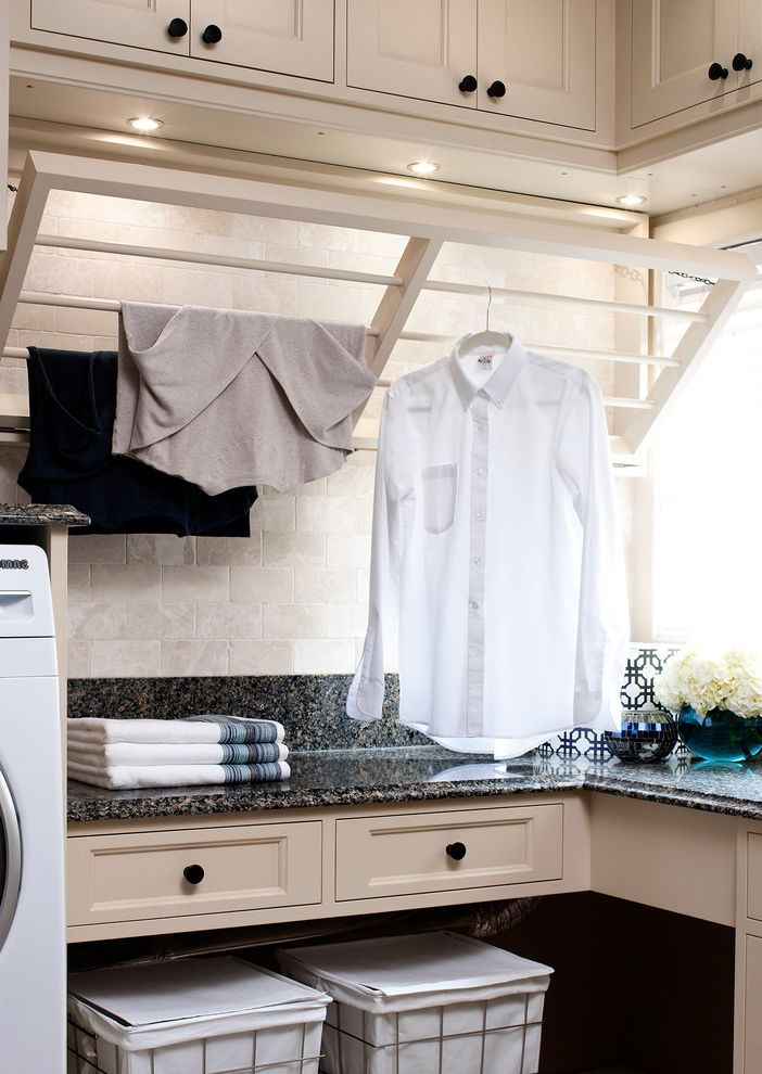 Decorative Garment Rack with Traditional Laundry Room  and Cabinets Drawers Hampers Pull Down Drying Rack Recessed Lighting