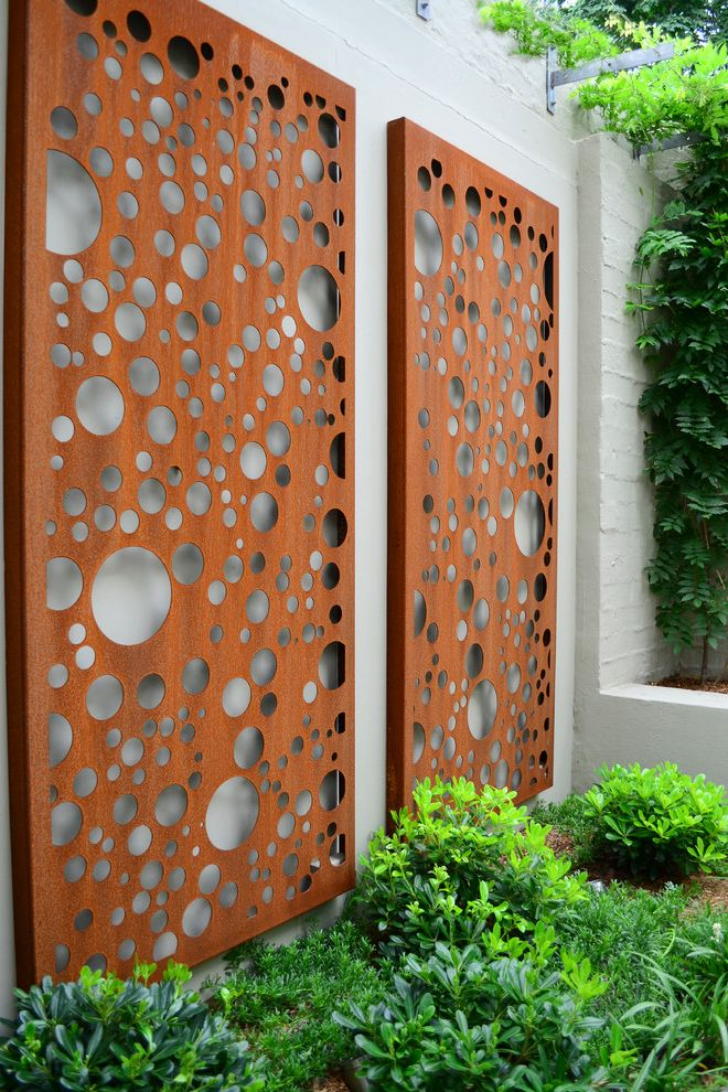 Decorative Sheet Metal Panels   Contemporary Landscape  and Bubbles Climbers Corten Decorative Screen Feature Screen Garden Bed Green Lush Porters Putty Shrubs Wisteria