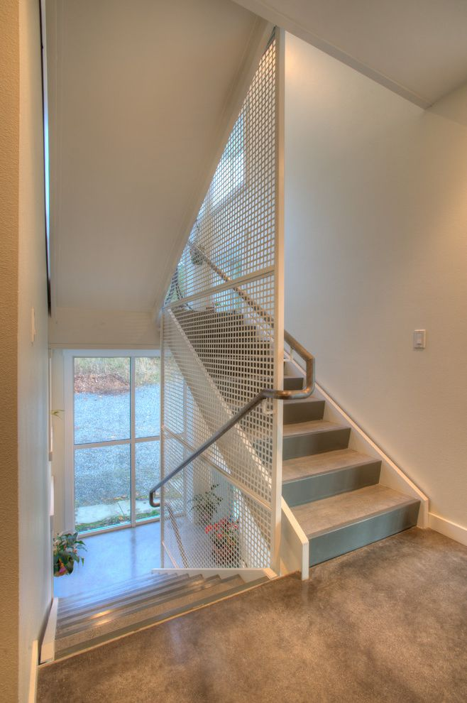 Decorative Sheet Metal Panels   Modern Staircase  and Eco Architecture Glass Wall Guard Rail Lattice Modern Staircase Monochromatic Neutral Colors Sustainability