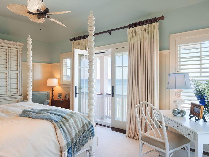 Decorative Traverse Rods   Beach Style Bedroom  and Beach Beach House Bedroom Coastal Coastal Style Color French Doors Interior Master Bedroom Ocean Front Ocean View Rbd Richard Bubnowski Shingle Style White Windows