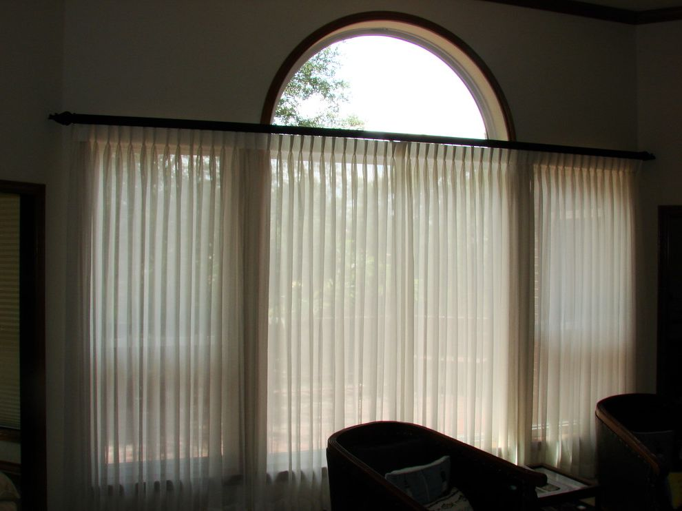 Decorative Traverse Rods   Contemporary Family Room Also Custom Drape Decorative Traverse Rod Sheer Curtains Sheer Drape Sheer Fabric Wood Rod