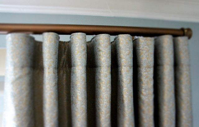 Decorative Traverse Rods   Traditional Bedroom  and Contemporary Drapery Treatments Decorative Traversing Rod Fabric Hangs Pleated Header Ripplefold