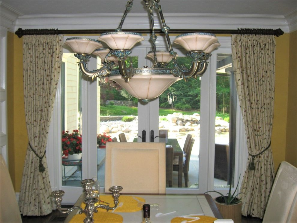Decorative Traverse Rods with Traditional Spaces  and Custom Window Treatments Custom Made Decorative Drapery Rod Decorative Traverse Rod Draperies Draperies in Kitchen Drapes in Kitchen Finials French Door Tassel Tie Back Window Treatments