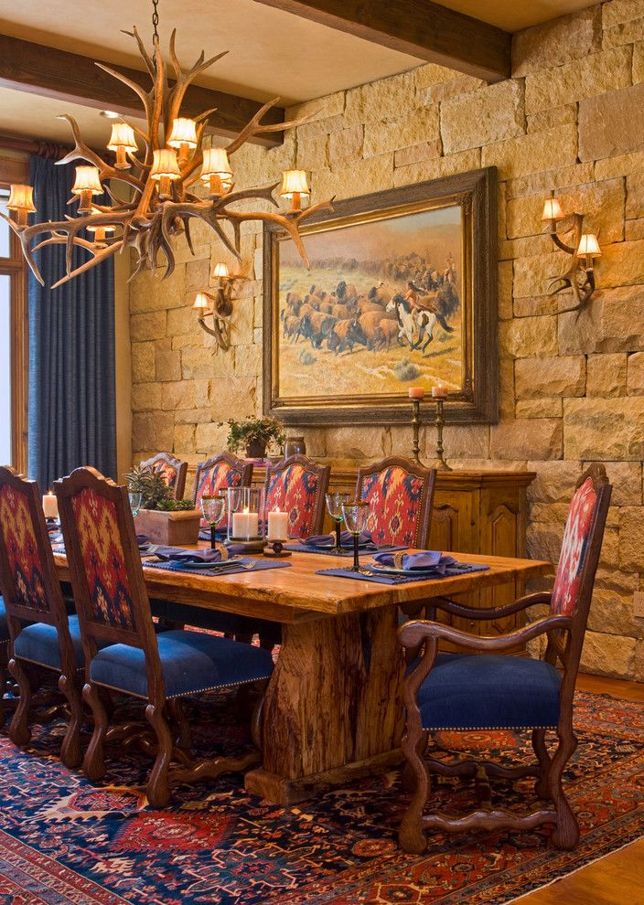 Deer Antler Table Lamps   Rustic Dining Room Also Antler Chandelier Antler Sconce Area Rug Exposed Beams Lodge Oriental Rug Painting Rustic Sideboard Stone Wall Table Setting Upholstered Dining Chairs Wood Dining Table