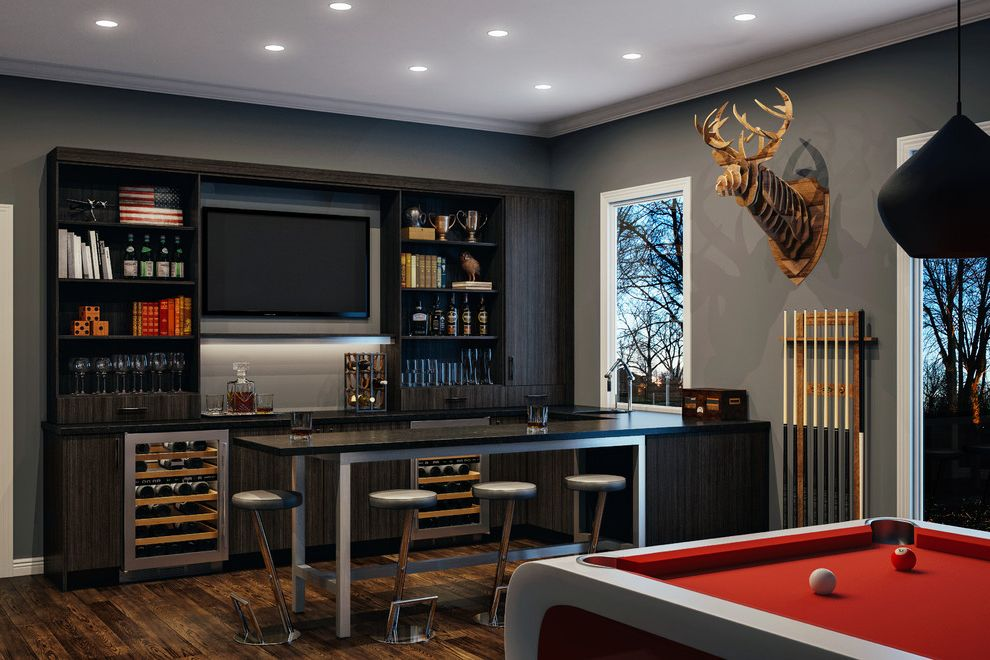 Deer Creek Storage   Contemporary Home Bar  and Antlers on Wall Bar Stools Beer Wine Fridges Canyon Creek Cabinet Company Canyon Creek Cabinetry Canyon Creek Cabinetst Man Caves Masculine Pool Table