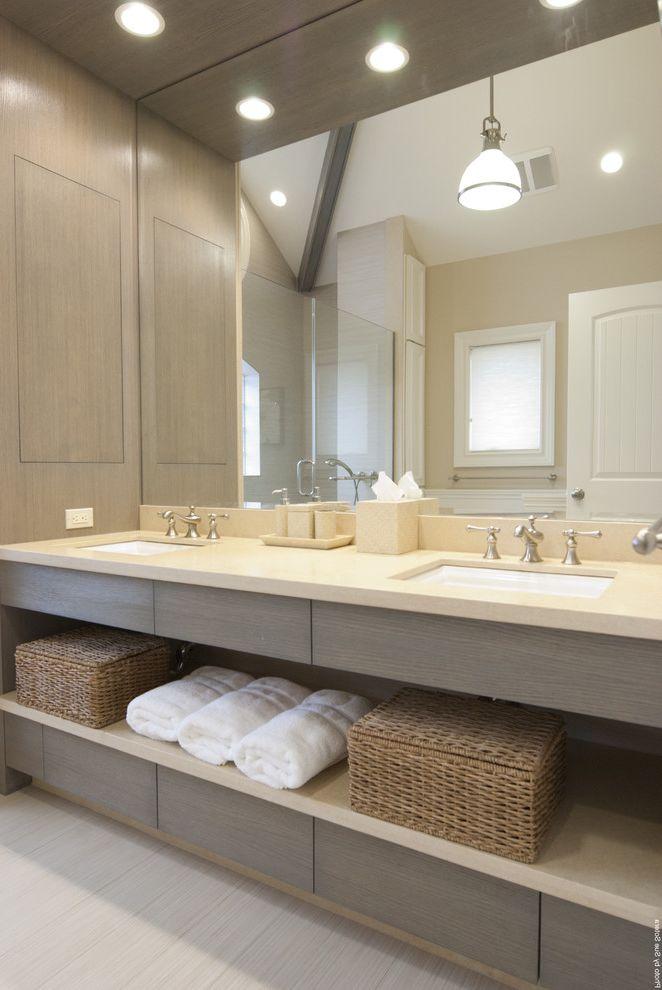 Deer Creek Storage with Contemporary Bathroom  and Bath Accessories Bathroom Storage Ceiling Lighting Double Sinks Double Vanity Neutral Colors Pendant Lighting Recessed Lighting Square Sinks Storage Baskets Towel Storage