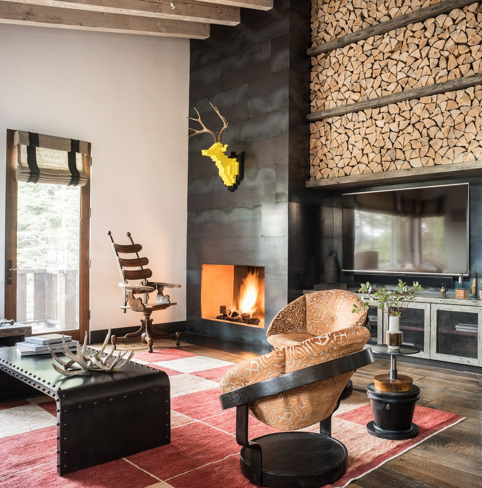 Deer Creek Storage with Rustic Family Room Also Chopped Wood Exposed Wood Beam Fireplace Metal Panels Red Carpet Wire Mesh Cabinets