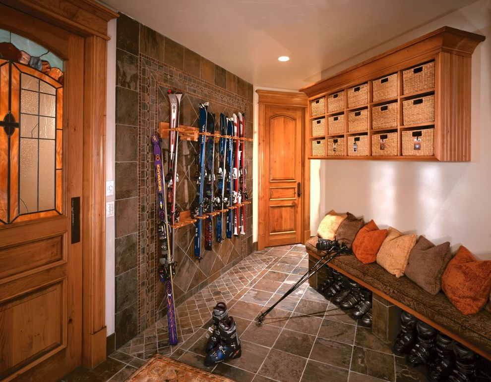 Deer Creek Storage with Traditional Entry Also Autumnal Baskets Bench Cubbies Ski Boots Ski Rack Stained Glass Tile Floor Tile Wall Wood Trim