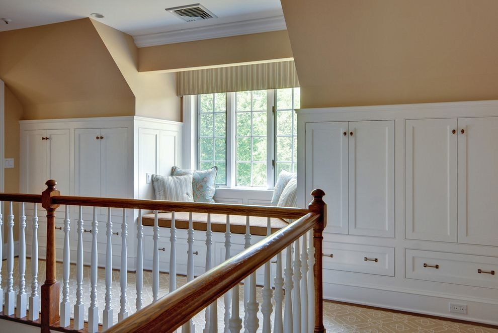 Deer Creek Storage with Traditional Hall  and Built in Built in Storage Rug Runner Sloped Ceiling Storage Valance Wainscoting Window Seat Window Treatments Wood Banister