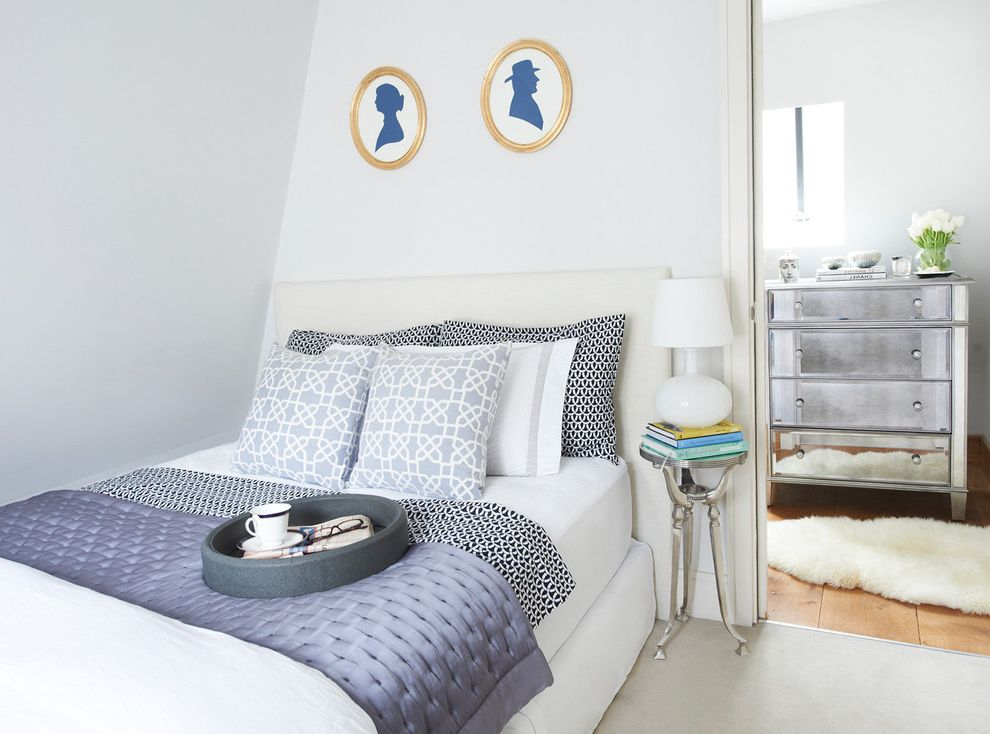 Define Duvet   Transitional Bedroom Also Blue and White Faux Fur Rug Gilt Frames Mirrored Furniture Oval Frames Profile Portraiture White Headboard